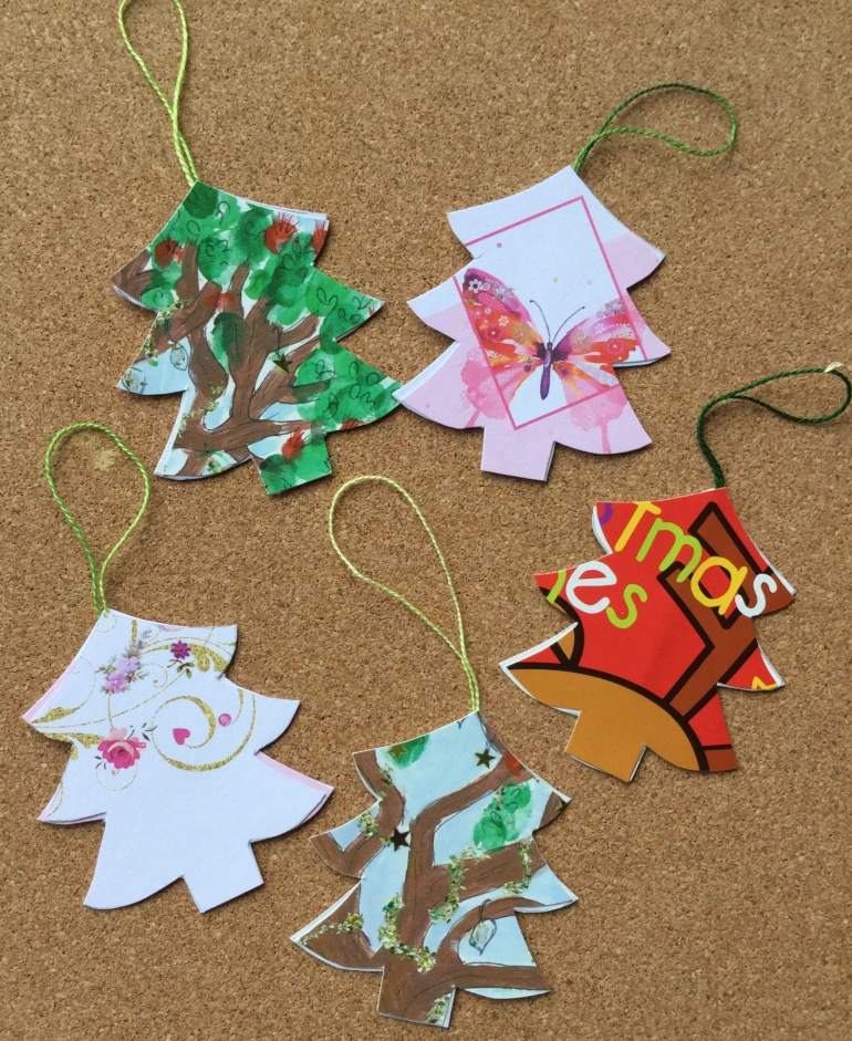 Recycled Christmas Card Tree Ornaments