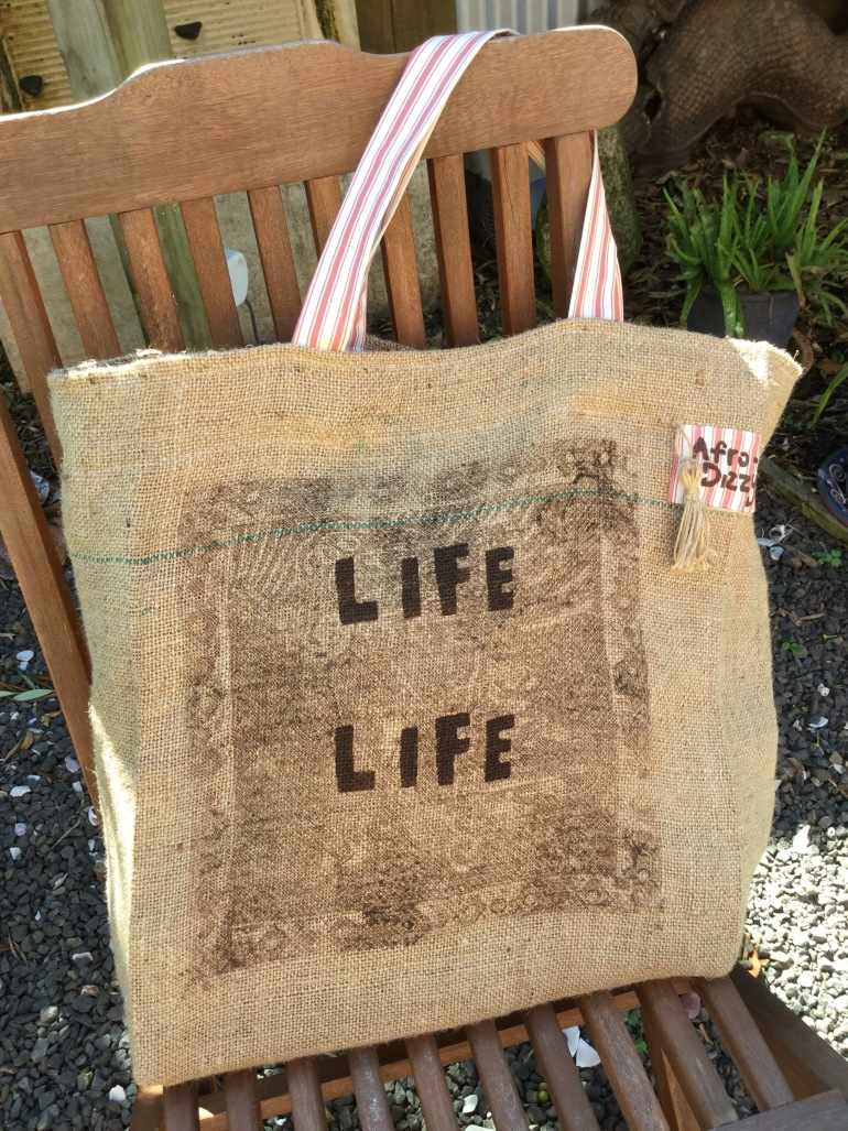 Hessian bag shopping tote.