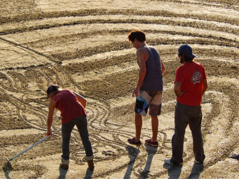 Sand artists at work