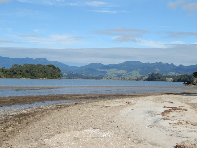 The farthest end of the Beach Road Harbour Reserve looking toward Tauranga and the Kaimai mountain range.